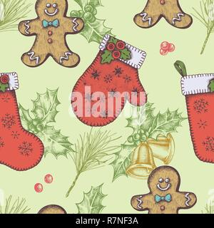 Seamless pattern with colored bells, gingerbread men, mitten, stocking, holly, pine branch - Stock Photo