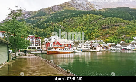 Odda is a town in the county of Hordaland of the Hardanger region, surrounding the southern part of Surfjorden in Norway. Located near Trolltunga. - Stock Photo