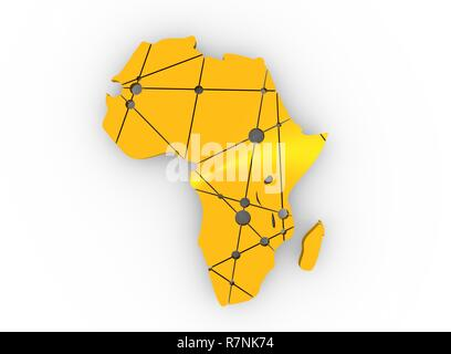 Low poly map of Africa - Stock Photo