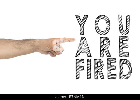 You are fired. boss gesturing way out hand sign with index finger. BUSINESSMAN FIRED EMPLOYEE. HR, business, concept. - Stock Photo