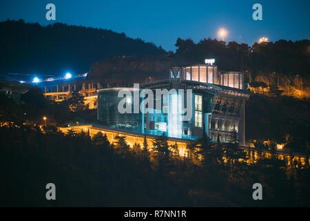 Tbilisi, Georgia - November 11, 2018: Night View Of complex of buildings, residence in Sololaki Ridge owned by the Georgian tycoon Boris (Bidzina) Iva - Stock Photo