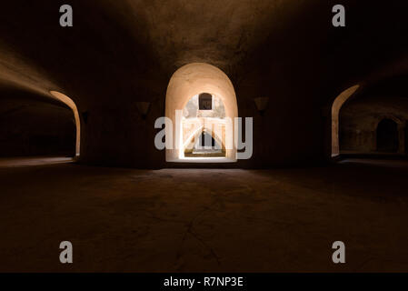 Underground level of the circular Sumur Gumuling mosque in Taman Sari palace complex, Yogyakarta, Indonesia. - Stock Photo