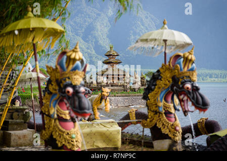 Two spires of the floating Pura Bratan hindu temple on Lake Bratan, Bedugul, Bali, Indonesia. - Stock Photo
