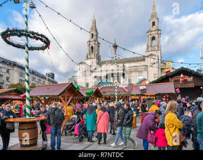 Leeds Christkindelmarkt 2018, Traditional German Christmas Market in Millennium Square, Leeds, West Yorkshire, England, UK - Stock Photo
