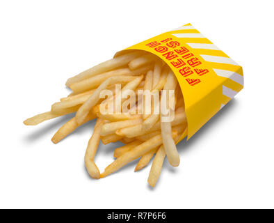 Tipped Over Box of French Fries Isolated on White Background. - Stock Photo