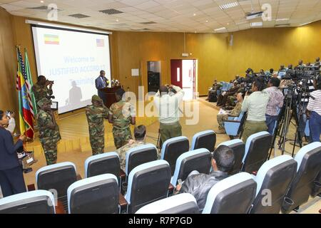 Nearly 100 participants from eight nations and seven organizations come together for the U.S. Army Africa-led exercise Justified Accord 17 at the Peace and Support Training Center in Addis Ababa, Ethiopia, Mar. 20-24, 2017. The exercise is an annual combined joint exercise focused on bringing together U.S., African partners, Western partners, and international organizations to promote interoperability through collaboration for peacekeeping operations in the East Africa region. - Stock Photo