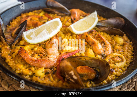Seafood paella, traditional spanish dish - Stock Photo