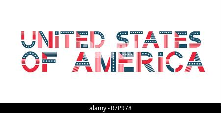 Vector text United States of America. USA banner in flag colors with stars and stripes. - Stock Photo