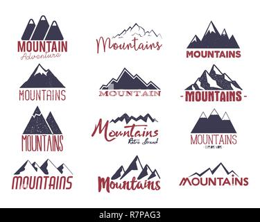 Mountain emblems set. Vintage hand drawn adventure logos. Camping labels collection. Stock vector patches isolated on white background - Stock Photo