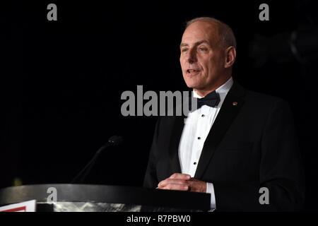 Secretary of Homeland Security John Kelly addresses the USO of Metropolitan Washington-Baltimore's 35th Annual Awards Dinner, Arlington, Va., March 21, 2017. - Stock Photo