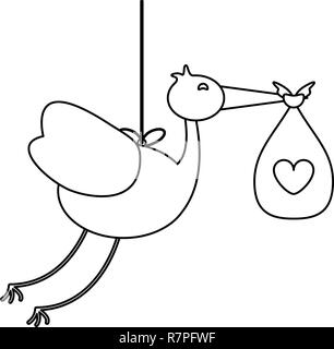 Stork with baby bag in black and white - Stock Photo