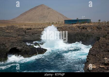 Cape Verde, Sal, Buracona, Restaurant Olho azul in front of the cliffs and the ocean - Stock Photo