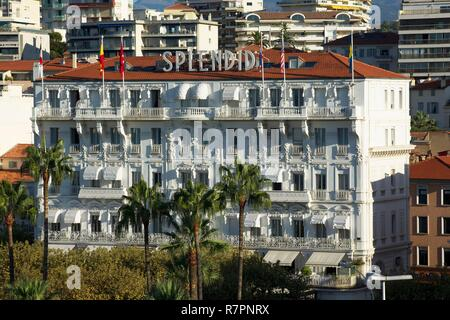 France, Alpes Maritimes, Cannes, Facade of the Splendid, the oldest hotel of Cannes, in front of the Croisette - Stock Photo
