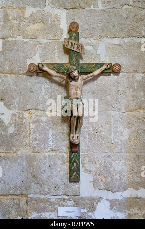France, Yvelines, Montchauvet, favorite village of the french, church of Sainte Marie Madeleine, Christ on the cross XVII century - Stock Photo