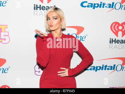 Washington DC, USA. 10th Dec 2018. Bebe Rexha arrives at Hot 99.5's iHeartRadio Jingle Ball 2018 at Capital One Arena on December 10, 2018 in Washington, DC. Photo: Lisa Walker for imageSPACE/MediaPunch Credit: MediaPunch Inc/Alamy Live News - Stock Photo