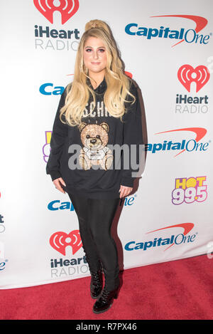 Washington DC, USA. 10th Dec 2018. Meghan Trainor arrives at Hot 99.5's iHeartRadio Jingle Ball 2018 at Capital One Arena on December 10, 2018 in Washington, DC. Photo: Lisa Walker for imageSPACE/MediaPunch Credit: MediaPunch Inc/Alamy Live News - Stock Photo