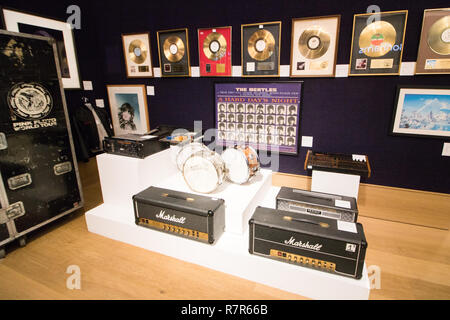 London UK. 11th December 2018. Items used by Emerson Lake and Palmer drum kits included  Rock and Pop memorabilia sale at Bonhams New Bond Street Credit: amer ghazzal/Alamy Live News