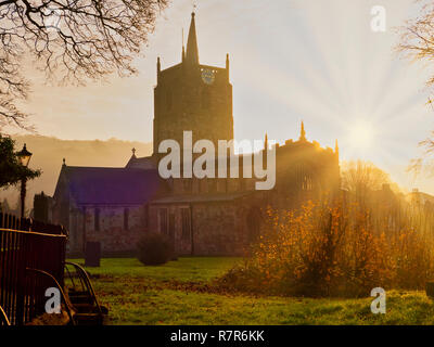Wirksworth, Derbyshire Dales, Peak District, UK. 11th December, 2018. UK Weather: spectacular sunrise St. Mary's Church, Wirksworth in the Derbyshire Dales, Peak District National Park Credit: Doug Blane/Alamy Live News - Stock Photo