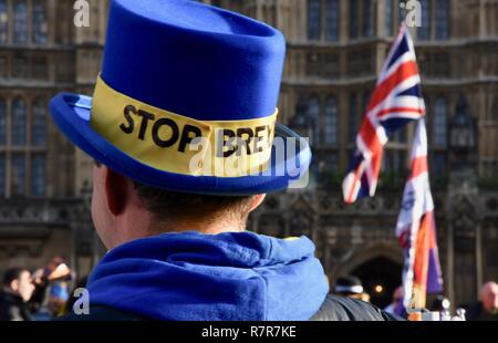 London, UK. 11th December, 2018. Steve Bray,activist'Mr Stop Brexit' led a demo on the day that a Meaningful Brexit Vote had been scheduled.The vote has now been postponed.Houses of Parliament,London.UK Credit: michael melia/Alamy Live News - Stock Photo