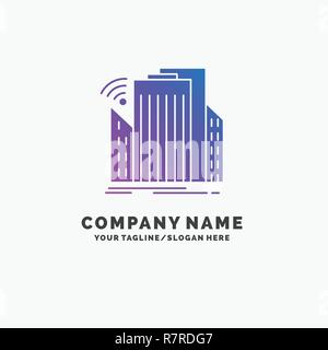 Buildings, city, sensor, smart, urban Purple Business Logo Template. Place for Tagline. - Stock Photo