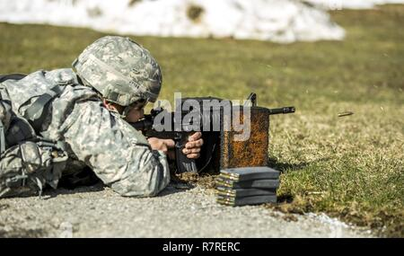 A Soldier zeroes his weapon before shooting a weapon qualification during the New York Army National Guard Best Warrior Competition at Camp Smith Training Site March 30, 2017. The Best Warrior competitors represent each of New York's brigades after winning competitions at the company, battalion, and brigade levels. At the state level they are tested on their physical fitness, military knowledge, endurance, marksmanship, and land navigation skills. - Stock Photo