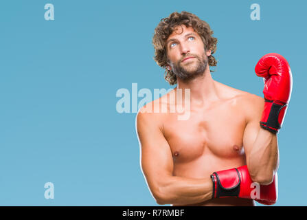 Handsome hispanic boxer man wearing boxing gloves over isolated background { tf1ansiansicpg1252cocoartf1404cocoasubrtf470 - Stock Photo