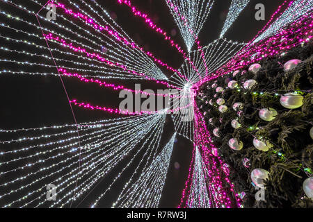 Decorated Christmas tree in Vilnius, Lithuania - Stock Photo