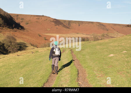 A walker heading through Horcum Slack near the Hole of Horcum in the North York Moors - Stock Photo