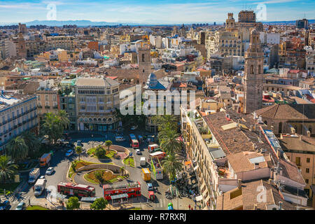 View of PLaza de la Reina Square from Miguelete, Bell Tower of Santa Maria de Valencia. Cathedral. Valencia. Comunidad Valenciana. Spain - Stock Photo