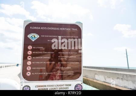 Marathon, USA - May 1, 2018: Florida Keys, overseas highway road, seven mile bridge in Atlantic Ocean, gulf of Mexico, sign closeup - Stock Photo