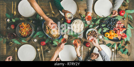 Traditional Christmas, New Year holiday celebration party, wide composition - Stock Photo