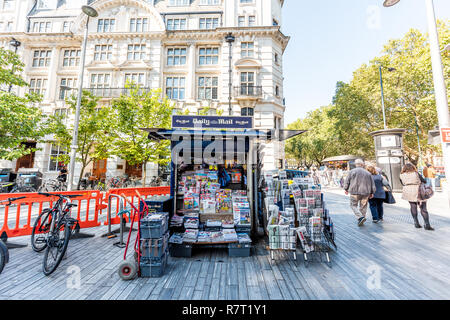 London, UK - September 13, 2018: Neighborhood district of Chelsea, street, old vintage historic traditional sidewalk square with dailymail daily mail  - Stock Photo