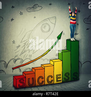Young woman celebrate raising hands up on the top of a graph as stairs with arrow going up. Stairway to success, professional startup growth and achie - Stock Photo