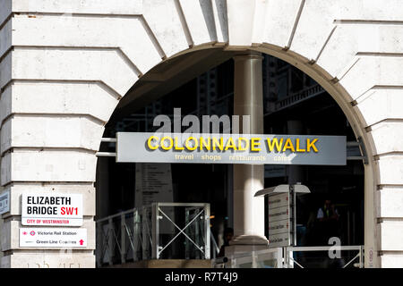 London, UK - September 15, 2018: United Kingdom, Pimlico Westminster neighborhood district, sign for Colonnade walk near Victoria station, urban stree - Stock Photo