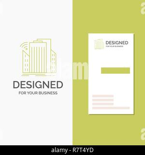Business Logo for Buildings, city, sensor, smart, urban. Vertical Green Business / Visiting Card template. Creative background vector illustration - Stock Photo