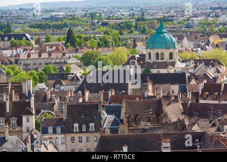 France, Cote d'Or, Cultural landscape of the climates of Burgundy listed as World Heritage by UNESCO, Dijon, convent of Bernardines seen from the tower Philippe le Bon of the Palace of the Dukes of Burgundy - Stock Photo