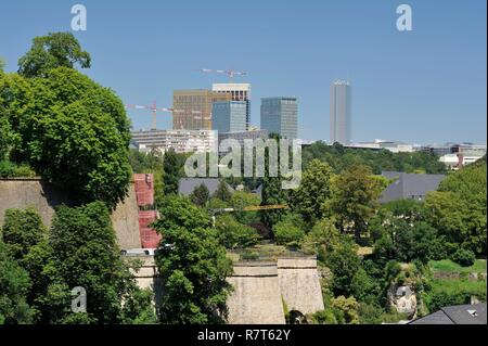 Luxembourg, Luxembourg city, view of the Kirchberg plateau neighborhood housing the Museum of Modern Art and the buildings of the European institutions - Stock Photo