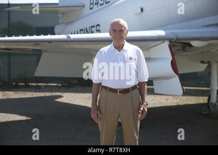 Retired Maj. Gen. Bobby Butcher stands beside a Douglas A-4C Skyhawk at The Flying Leatherneck Aviation Museum just outside Marine Corps Air Station Miramar, Calif., April 6. Butcher flew the Skyhawk towards the end of his tour as a Vietnam pilot.
