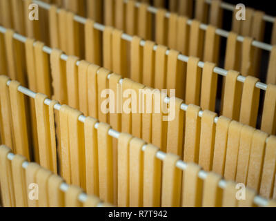 Self made pasta (Fettuccine) hanging on a clothes horse for drying - Stock Photo