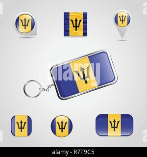 Barbados Country Flag on Keychain and map pin different style - Stock Photo