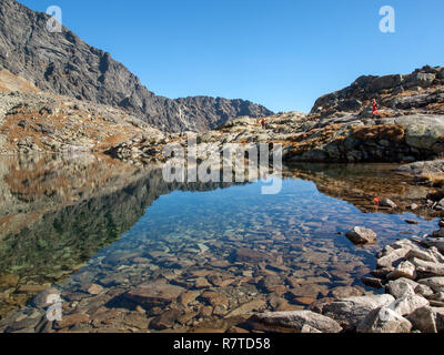 Vysoke Tatry, Slovakia - October 11, 2018:  Valley of Five Spis Lakes. High Tatra Mountains, Slovakia. - Stock Photo