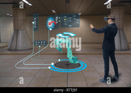 iot smart technology futuristic in industry 4.0 concept, engineer use augmented mixed virtual reality to education and training, repairs and maintenan - Stock Photo