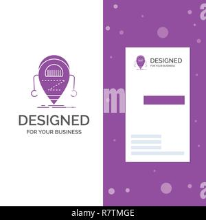 Business Logo for Android, beta, droid, robot, Technology. Vertical Purple Business / Visiting Card template. Creative background vector illustration - Stock Photo