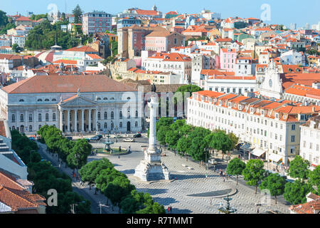 Aerial view of Rossio Square, Baixa, Lisbon, Portugal - Stock Photo