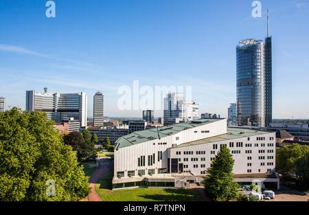 Aalto Theatre, in front of RWE Tower, Essen, North Rhine-Westphalia, Germany - Stock Photo