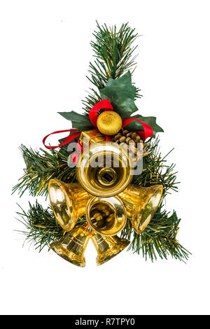 Christmas toys golden bells, decoration for the Christmas tree, collage - Stock Photo
