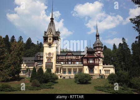 Peleș Castle, Sinaia, Prahova County, Wallachia, Romania - Stock Photo