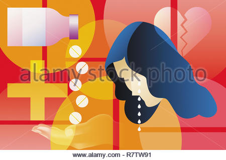 Depressed woman taking pills for a broken heart - Stock Photo