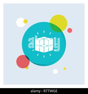 box, labyrinth, puzzle, solution, cube White Glyph Icon colorful Circle Background - Stock Photo