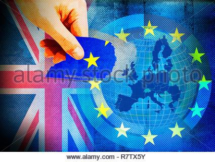 Hand tearing United Kingdom star from European Union flag - Stock Photo